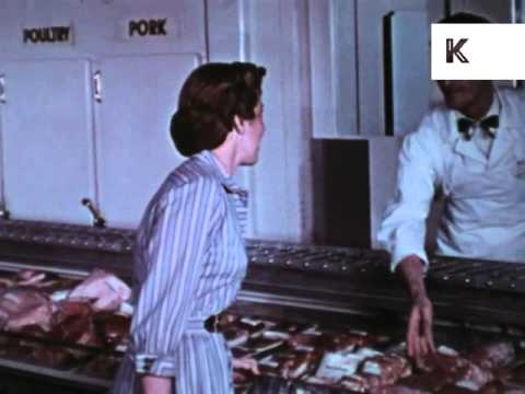 1950s Supermarket, Housewife, Shopping, Meat