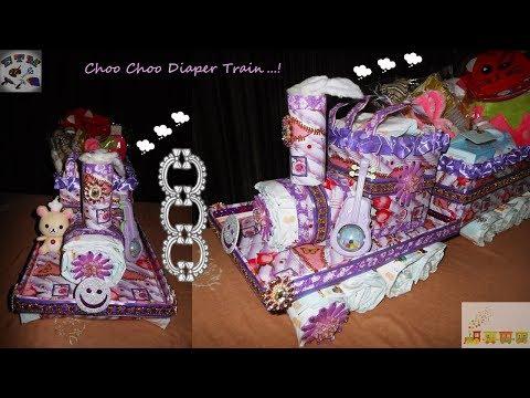 Choo Choo Diaper Train | Baby Shower Gift Train Diaper Cake | DIY Diaper Train