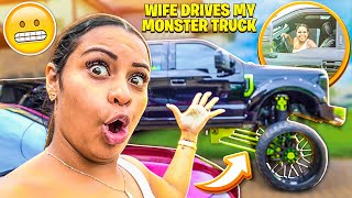 MY WIFE DRIVES MY MONSTER TRUCK FOR THE FIRST TIME!!