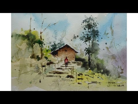 easy watercolor painting landscape for beginners by sikander singh chandigarh India