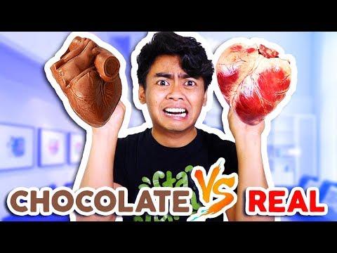 CHOCOLATE FOOD VS REAL FOOD! **Hearts, Alligator, Shark, and more!**