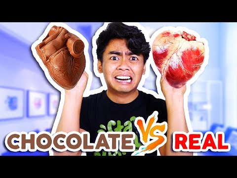 CHOCOLATE FOOD VS REAL FOOD! **Hearts, Alligator, Shark, and more!**