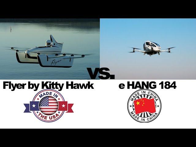 FLYER by KITTY HAWK vs. eHANG 184 (*passenger drone)