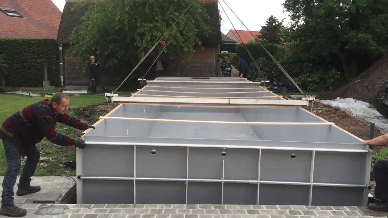 Kunststof hdpe monoblock zwembad plaatsen youtube for Zwembad kunststof
