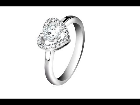 Jewellery - Rhodium plated ring, 925 silver, sparkly heart contour and round zircon in clear colour