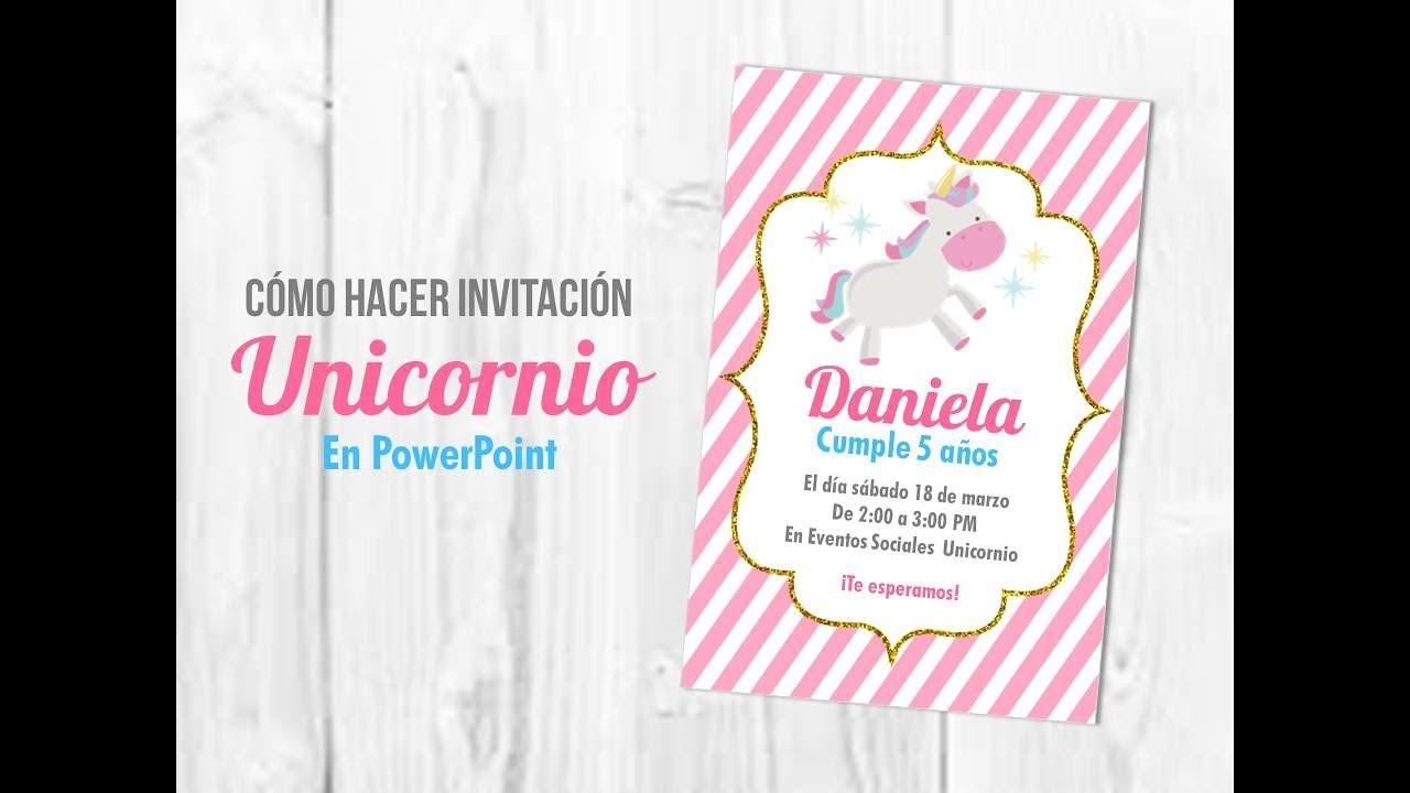 Tutorial Cómo Hacer Invitación Unicornio En Powerpoint Muy Fácil