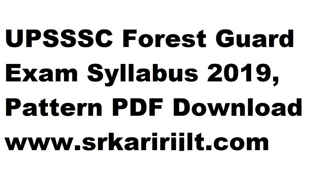 UPSSSC Forest Guard Syllabus 2019: Sarkari Result Vanrakshak Syllabus