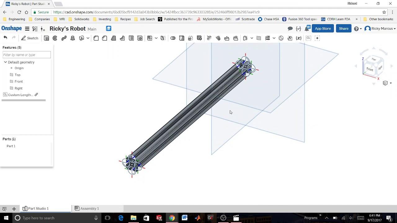 Onshape Tutorial FTC02 - Insert Custom Length Extrusions