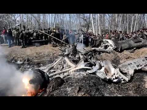 Wreckage of Indian aircraft, shot down by PAF, that fell inside Indian occupied Kashmir Feb 27, 2019