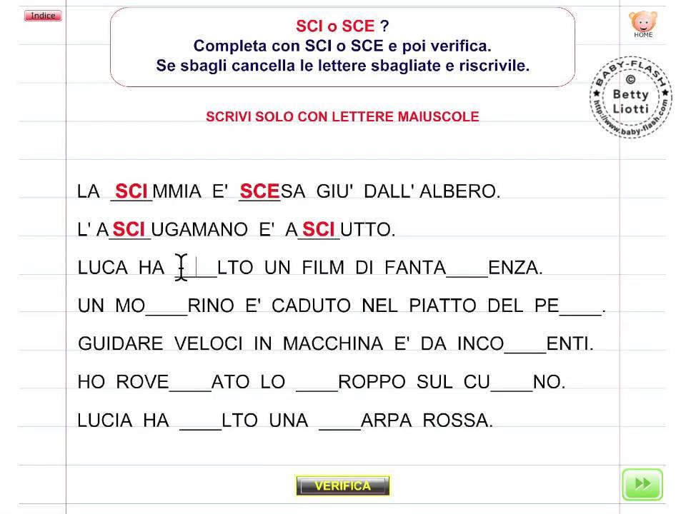 Italiano 18 esercizio con sci sce youtube for Parole con sci e sce per bambini