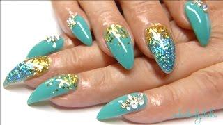 Teal Stiletto nail tutorial   UnderTheLilyShadow