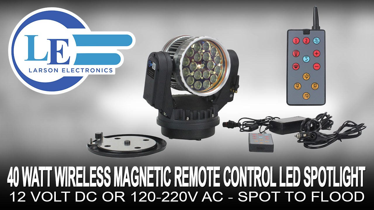 40 Watt Wireless Magnetic Remote Control Led Spotlight 12 Volt Dc