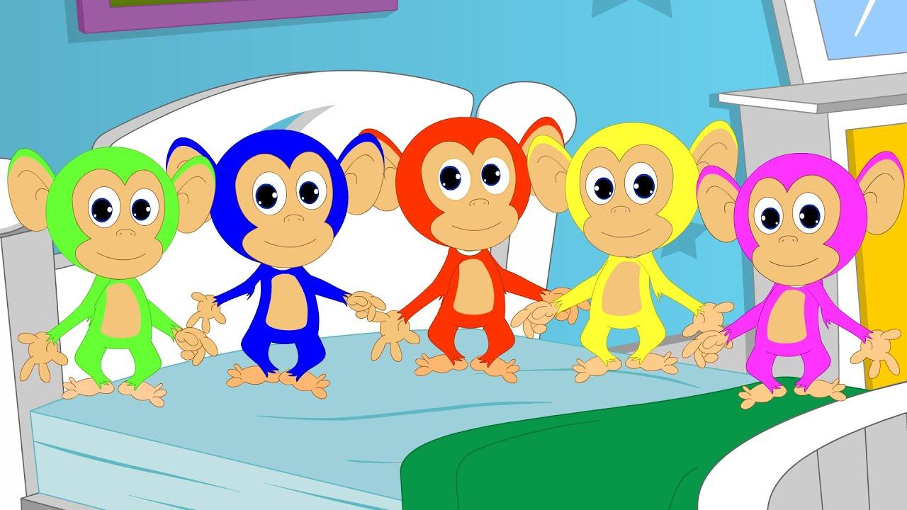 Cinque Scimmiette Saltavano Sul Letto.Cinque Scimmiette Five Little Monkeys Youtube
