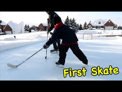Kids HocKey - First Skate on OutDoor Ice Rink