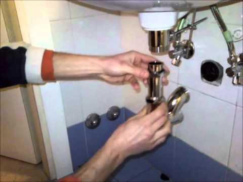 montaggio sifone lavabo - YouTube