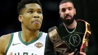 Drake TROLLS Giannis Antetokounmpo With WWE Belt During Raptors vs Bucks Game!
