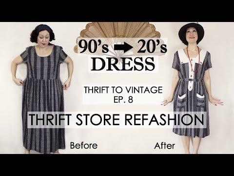 1920's style vintage dress thrift store  REFASHION - DIY vintage dress - Thrift to Vintage ep8 -
