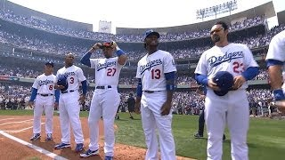 SF@LAD: 2014 Dodgers introduced at home opener