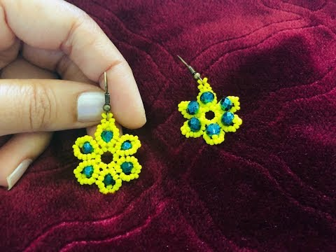 Beaded Flower Earrings || How to make Beaded Earrings