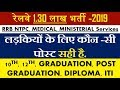 BEST POST FOR GIRLS IN RRB NTPC, MEDICAL STAFF, MINISTERIAL, LEVEL -1 POST
