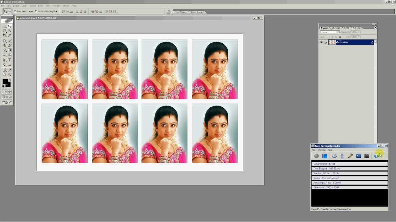 how to make 8 passport size photos in one maxi size in photoshop
