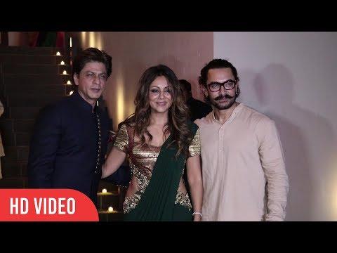 Shahrukh Khan With Wife Gauri Khan At Aamir Khan's Diwali Party 2017 | VIralbollywood