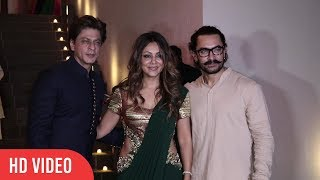Shahrukh Khan With Wife Gauri Khan At Aamir Khan's Diwali Party 2017 | VIralbollywood