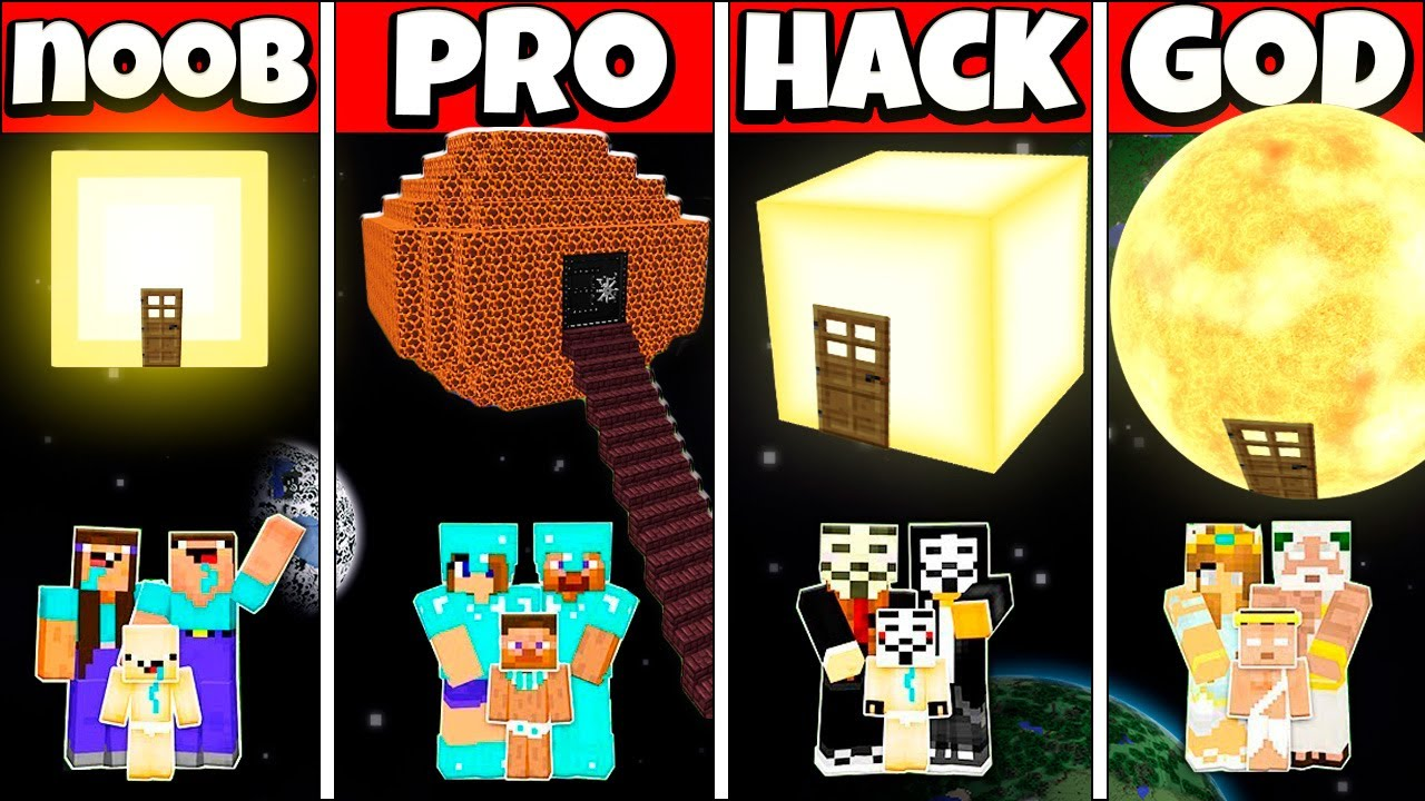 STAIRS TO SUN HOUSE BUILD CHALLENGE - NOOB vs PRO vs HACKER vs GOD Minecraft Animation