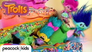 Poppy and Branch Rescue Smidge From Inside a GIANT Rainbow Cake | TROLLS TOYMOTION