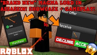 LIMITED MAGMA LORD KNIFE IN ROBLOX ASSASSIN! (SHOWCASE - GAMEPLAY) - IO GET DONATED Un GRATIS UNO TOO!