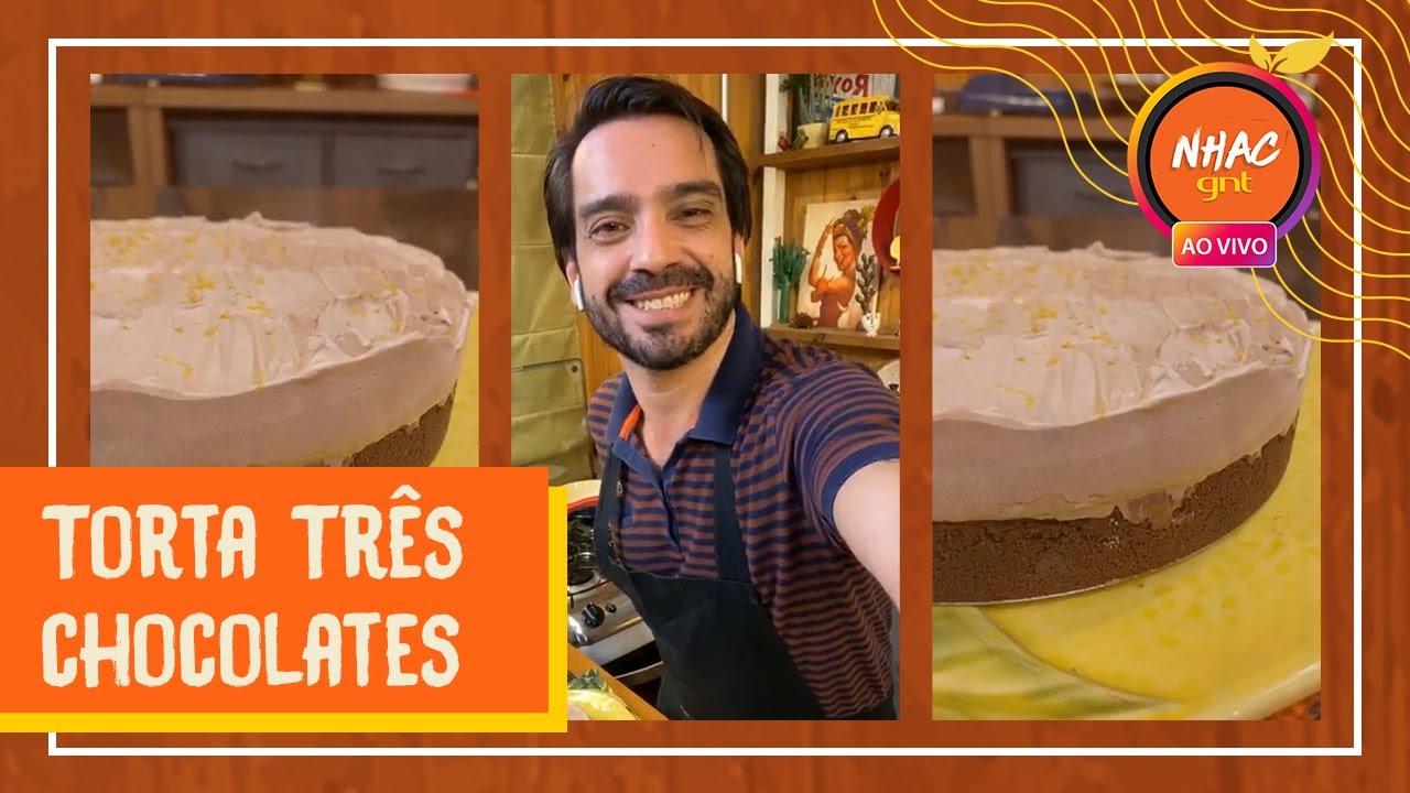TORTA TRÊS CHOCOLATES: Lucas Corazza ensina como fazer sobremesa irresistível | Lives da Quarentena