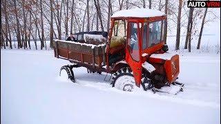 Что творит этот Трактор Т - 16 против Военного УАЗа в глубоком снегу!!!