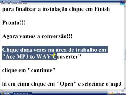 Convertendo aúdio em formato de .MP3 para .Wav !!!
