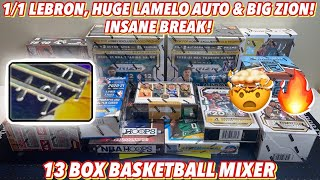 1/1 LEBRON, HUGE LAMELO AUTO & BIG ZION!🔥 INSANE BREAK!   13 Box Basketball Mixer - 20/21 Prizm FOTL