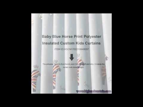 Baby Blue Polyester Kids Curtains HDCN1702210848037