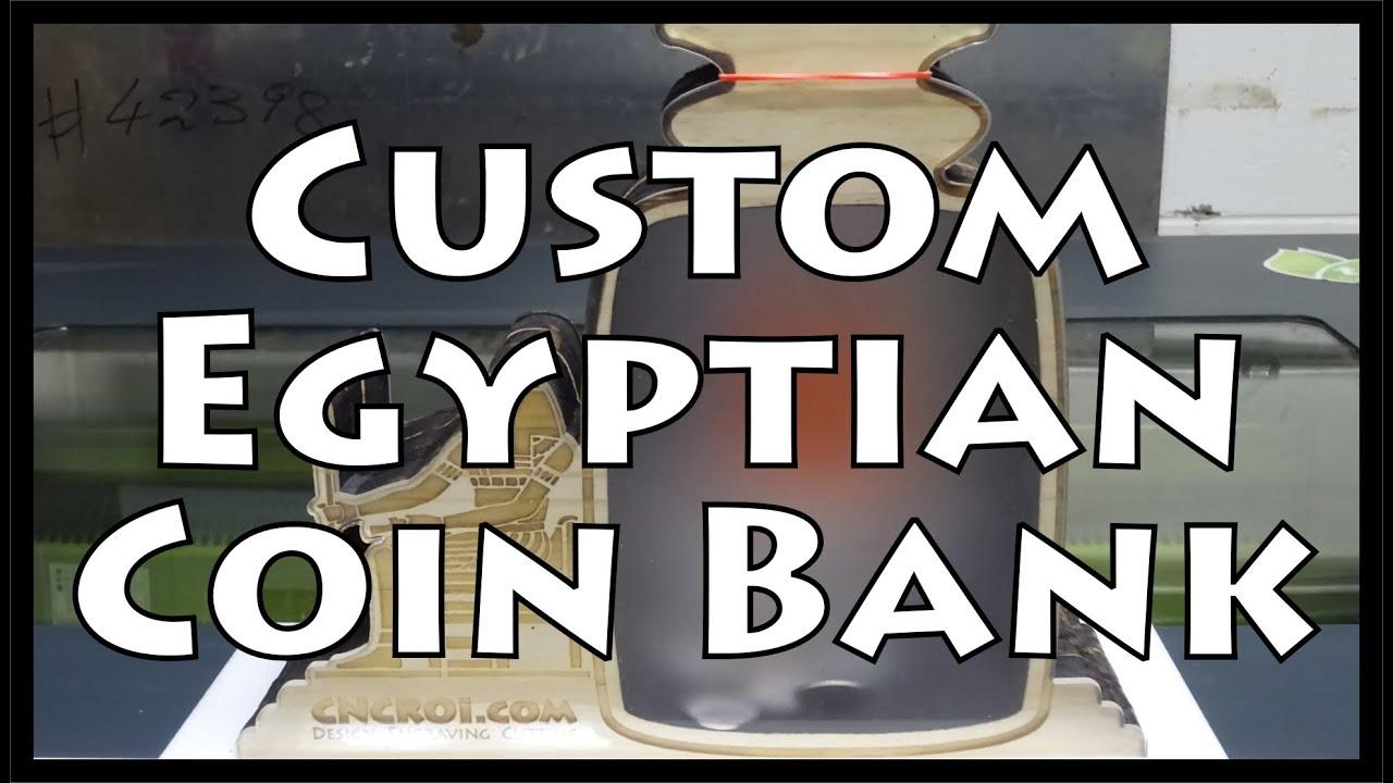 Whitewood Egyptian Coin Bank Custom Design Engraving Cutting