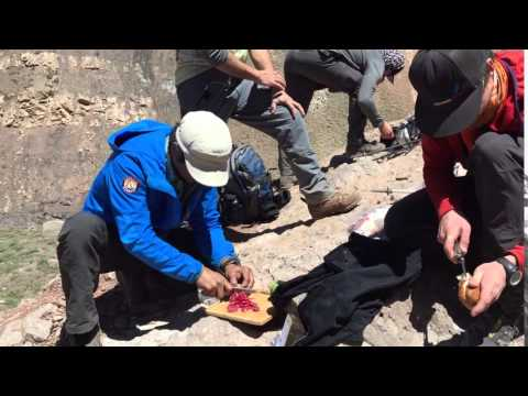 Aconcagua Expedition: Guides making lunch & View of Aconcagua