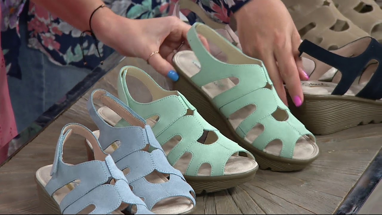 64b0a5901ca2 Skechers Suede Peep-toe Slingback Wedges - Stylin  on QVC - YouTube
