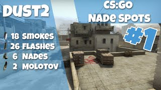 CS:GO Nade Spots Ep #1 - Dust2 18 Smokes, 26 Flashes, 6 Nades and 2 Molotovs - Quick Version
