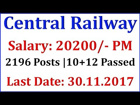 Central Railway Recruitment 2017 – Apply Online for 2196 Apprentice Post by Govt Psu Jobs