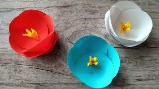 як зробити красиву квітку з кольорового паперу