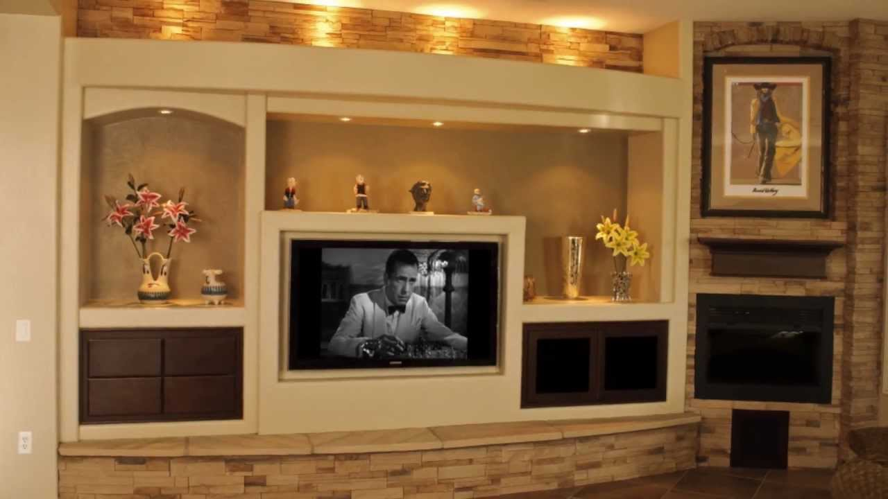 thunderbird custom design custom media walls drywall entertainment centers youtube - Media Wall Design