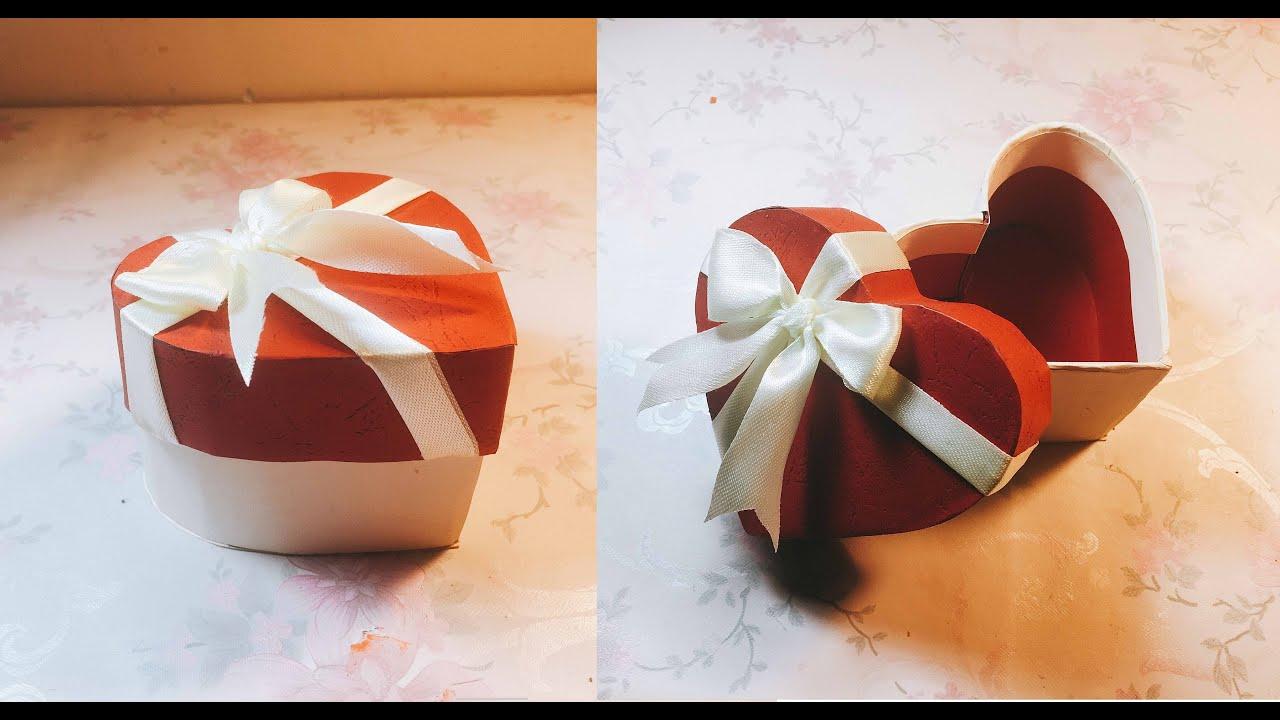 Make a Valentines gift box from cardboard – Làm hộp trái tim