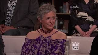 Talking Dead - Melissa McBride on practicing kissing with Khary Payton