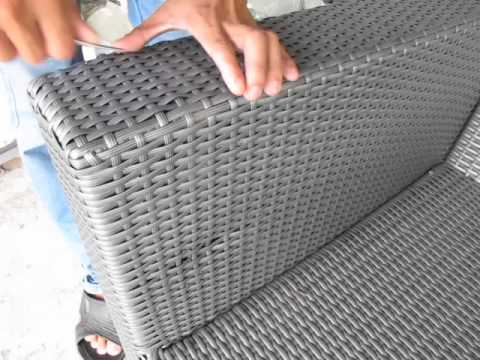 repair rattan chair seat outside wicker cushions atc furniture fix hole youtube