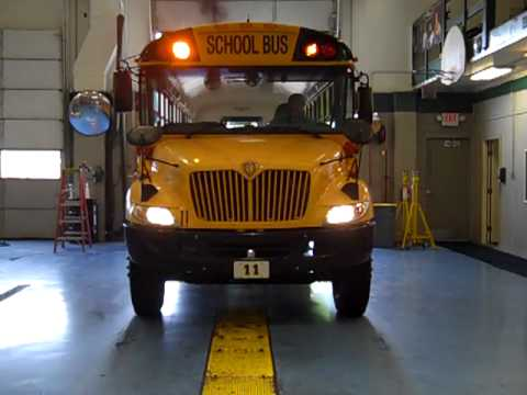 Old Bus 11 Pulling Into The Garage With The Warning