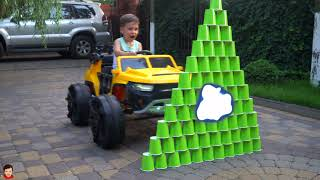 Tema ride on car and learn colors with Colored Cups