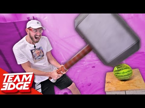Fruit Mayhem DEMOLITION Contest! | GIANT Thor Hammer!