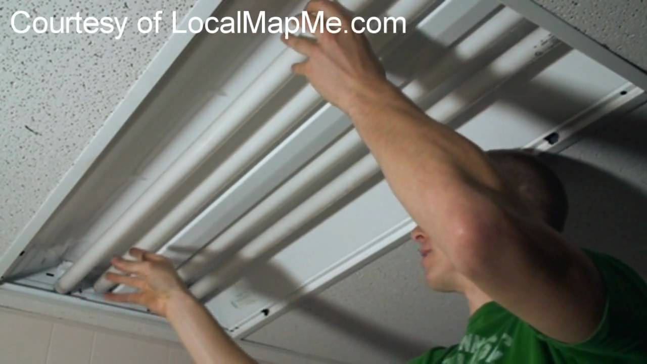 How To Install Or Change Fluorescent Bulbs In Recessed Office - Replace drop ceiling kitchen lighting