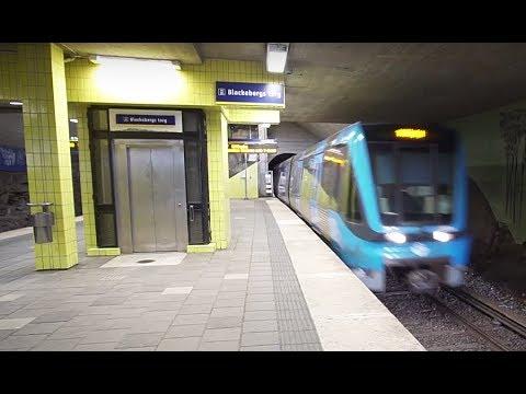 Sweden, Stockholm, Blackeberg, 2X elevator, subway ride to Råcksta